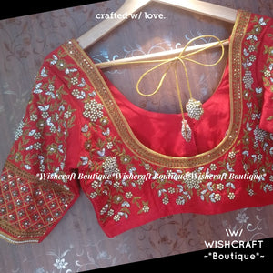 Red Maggam Work Blouse - Heavy work blouse - Saree Blouse Design 363