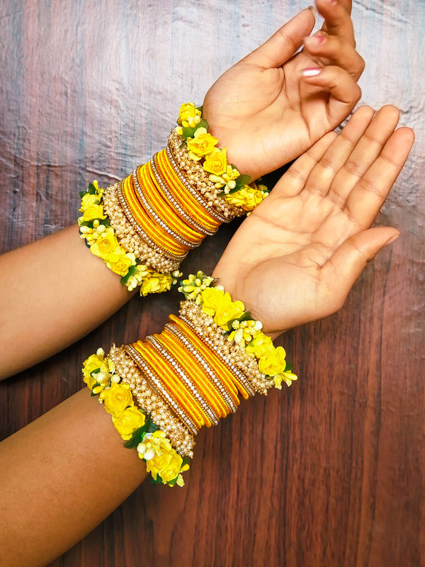 Yellow Flower Bangle Set with Loreal Bangles