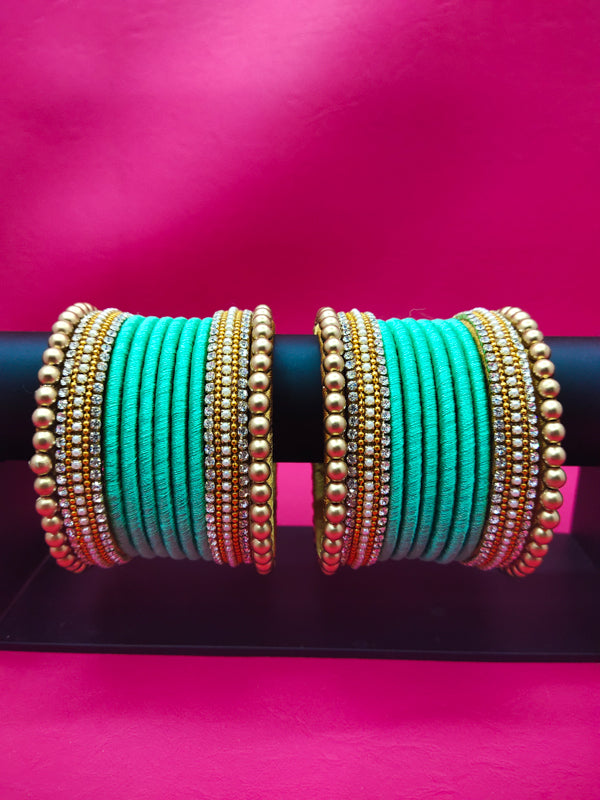 Sky Blue Matching Silk Thread Bangles