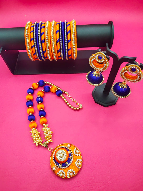 Silk Jewellery Set of Matching Bangles, Necklace and Earring