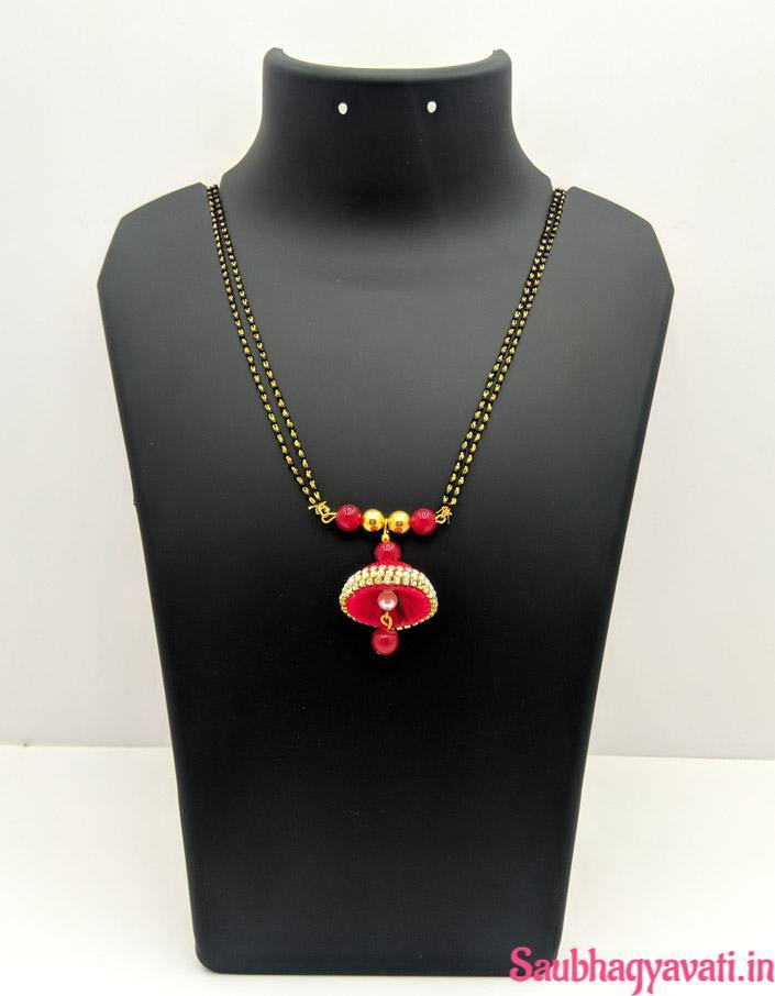 Red Silk Thread Jhumka Mangalsutra With Glass Beads - saubhagyavati.in