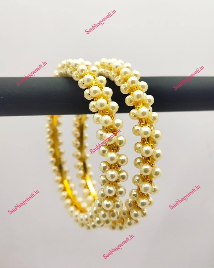 Golden & White Pearl Bangles - saubhagyavati.in