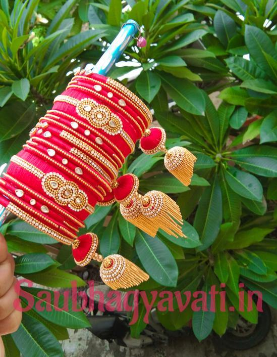 Bridal Red and Gold Silk Thread Hanging/ Latkan Bangles - saubhagyavati.in