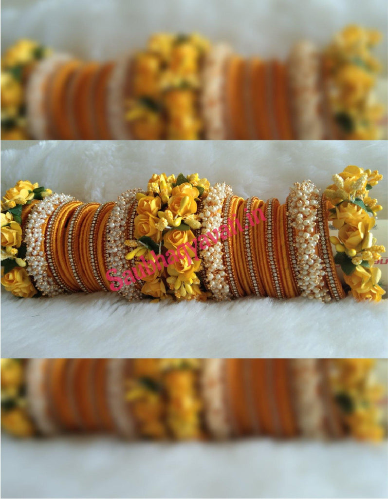 Yellow Flower & Silk Thread Chura - saubhagyavati.in