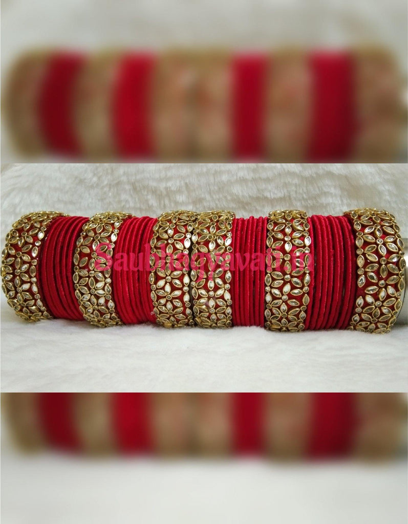 Silk Thread Kundan Bridal Chura - saubhagyavati.in