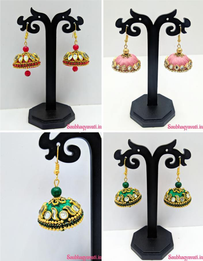 Earring made with silk thread and design with kundans diamond and stones