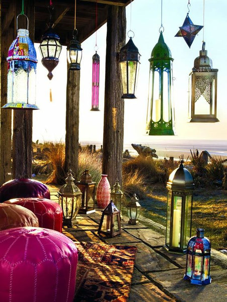 moroccan lanterns on a veranda at the seaside