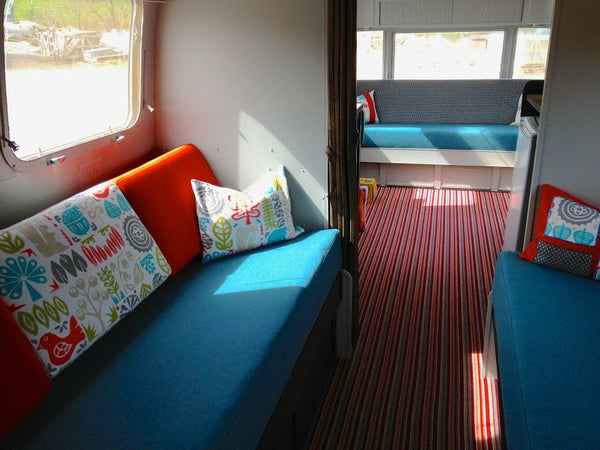 Interior design of airstream caravan with Scion fabrics