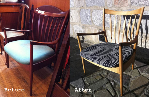 before and after mid century chair