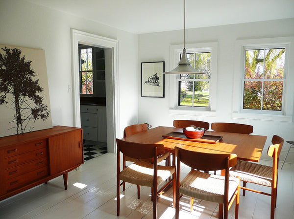 mid century dining set in swedish cottage