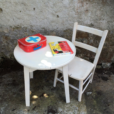 Children's vintage white table and chair