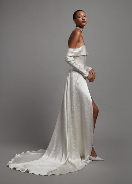 Bridal gown with hammer silk satin St Maxime 2