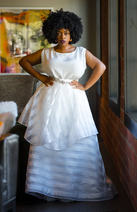 Stunning wedding dress using striped ivory fabric Jester from Bridal Fabrics on the skirt 3