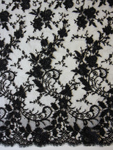 Load image into Gallery viewer, Black Hand Beaded Chantilly Lace - Brandy