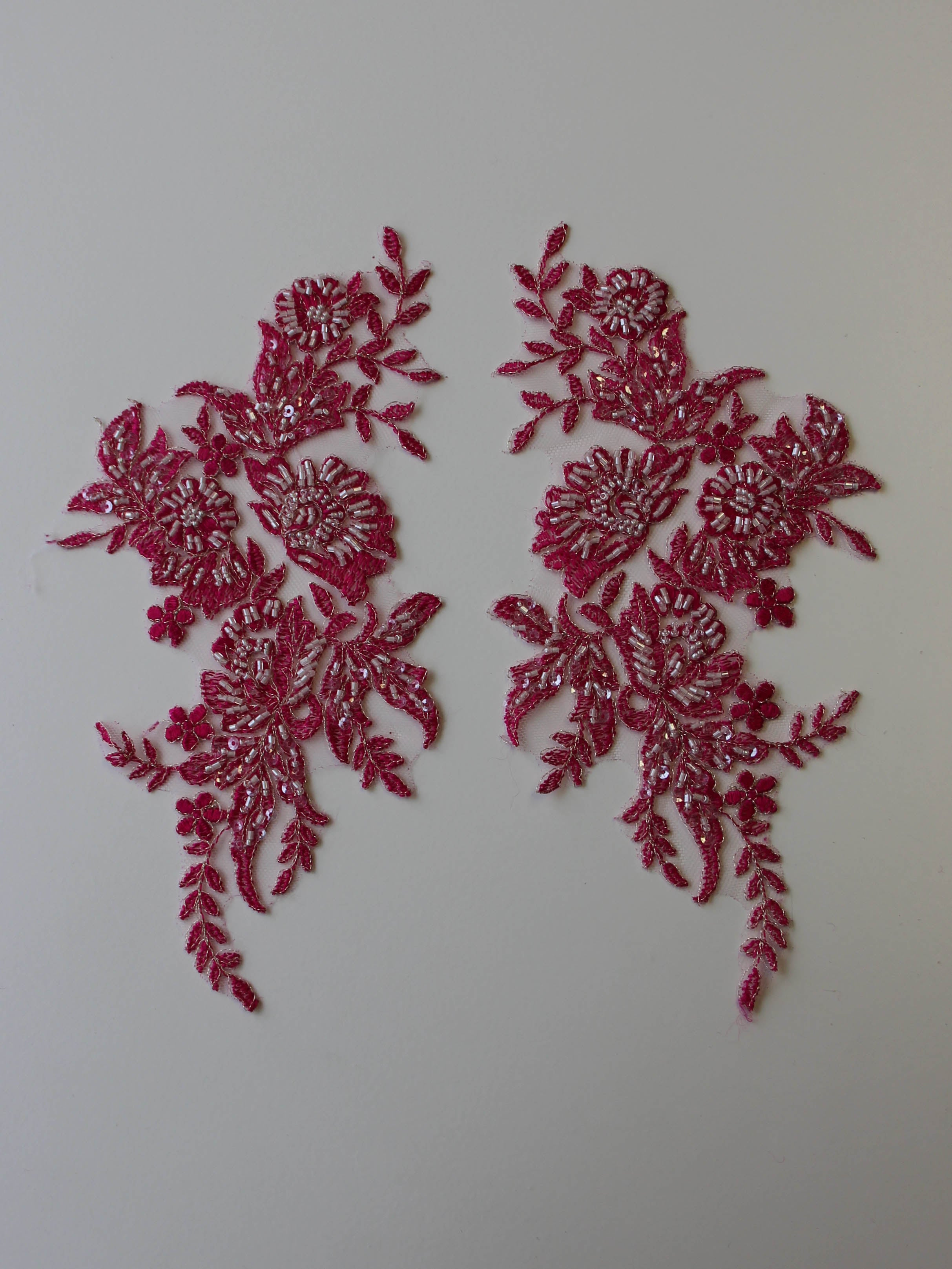 Candy Pink Beaded Lace Appliques - Nicole.