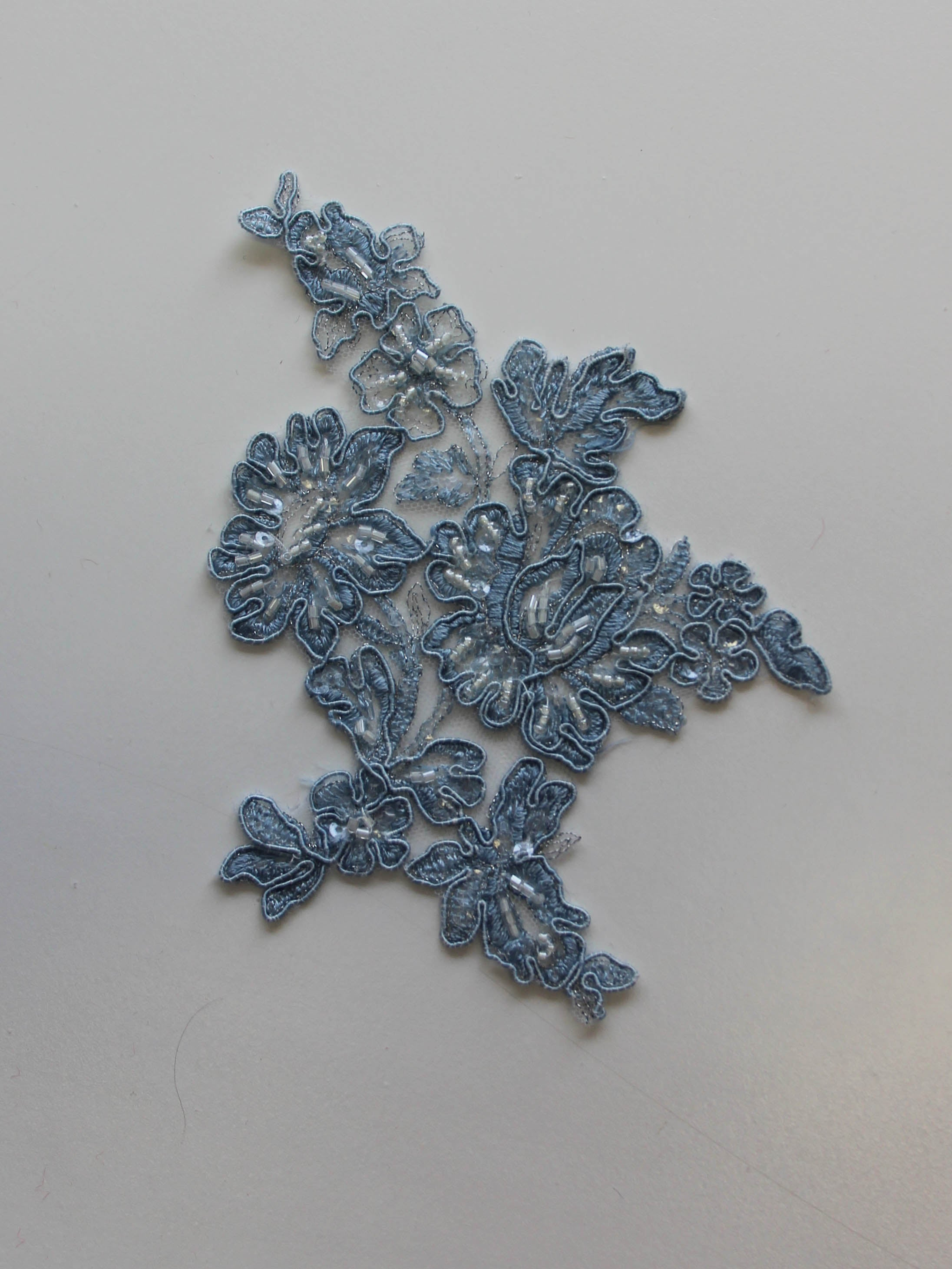 China Blue Beaded Lace Appliques - Victoria (Large).