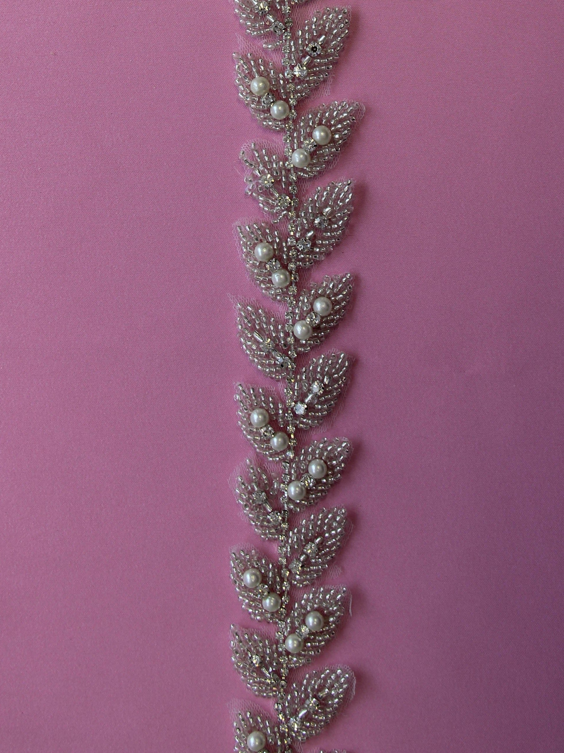 Crystal & Pearl Dress Trim - Rosemary