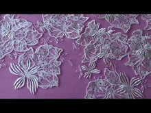Load and play video in Gallery viewer, Ivory Sequinned Embroidery Lace - Palma