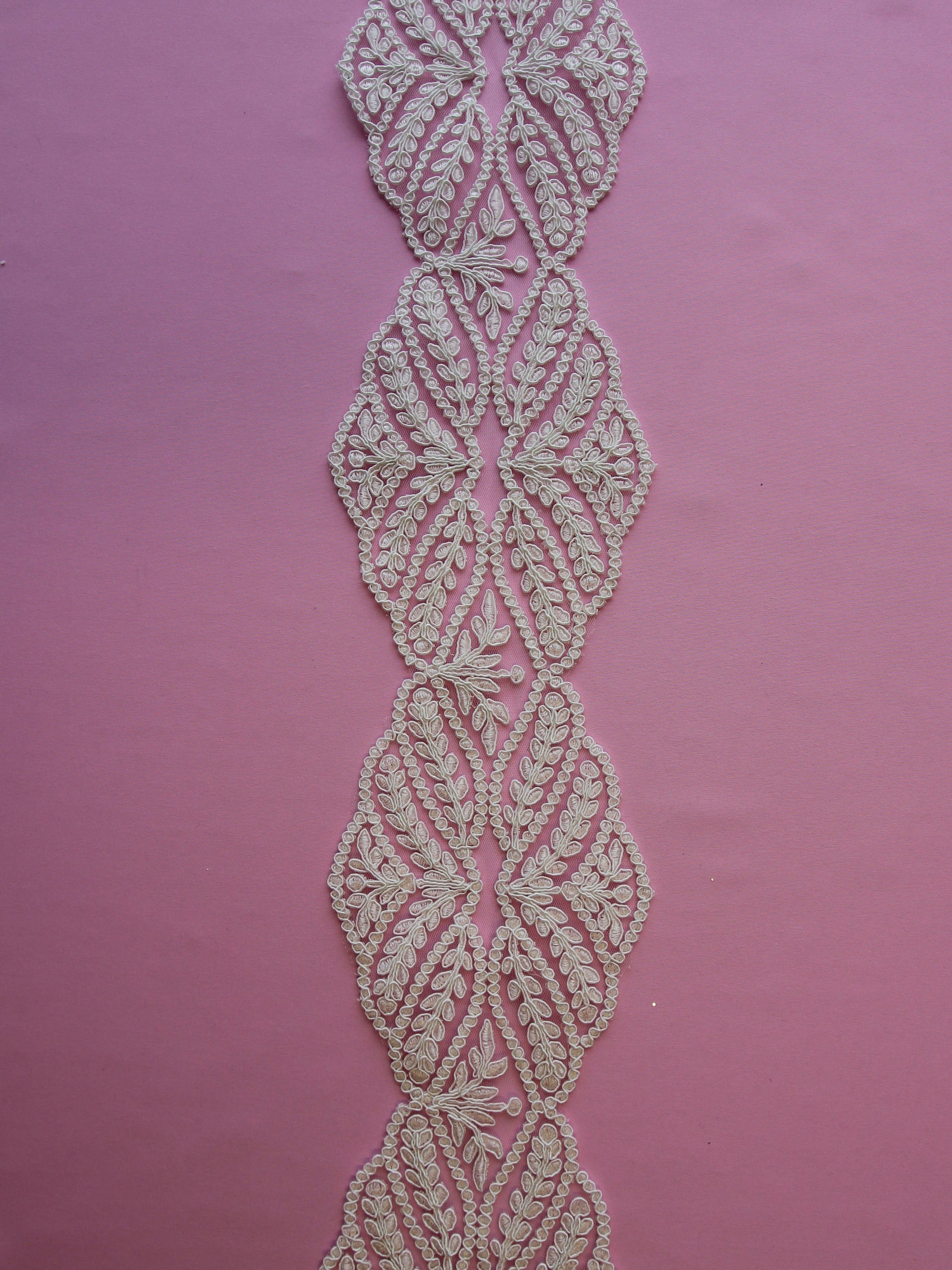 Ivory Corded Lace Trim - Vine