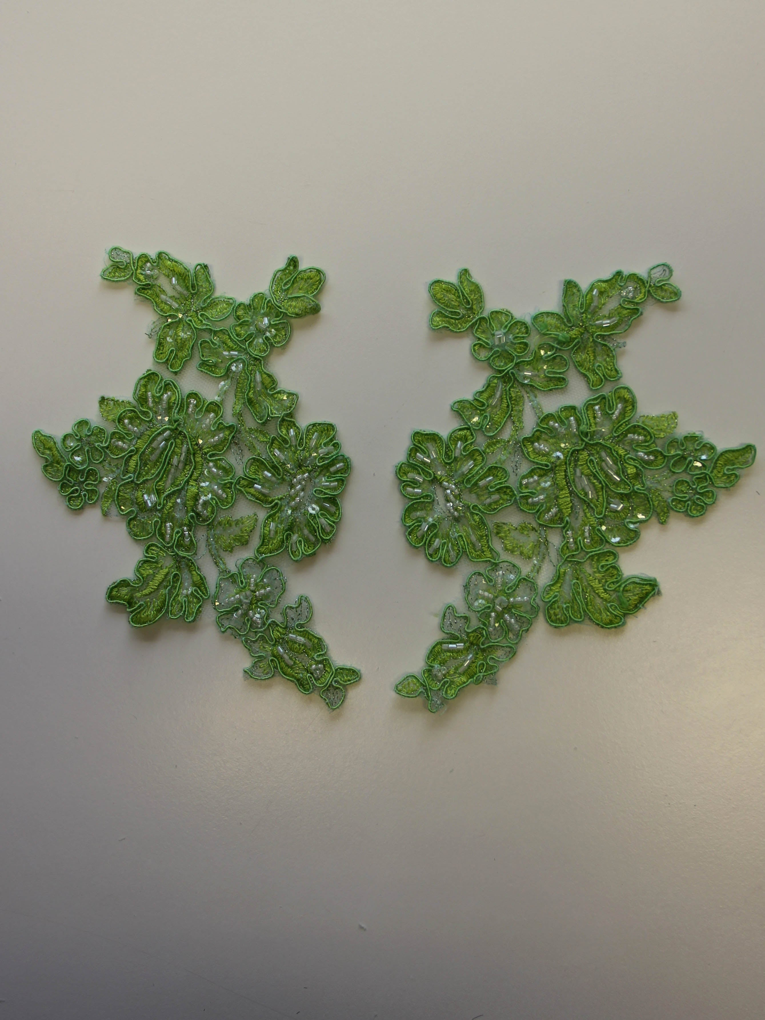 Lime Green Beaded Lace Appliques - Victoria (Large).