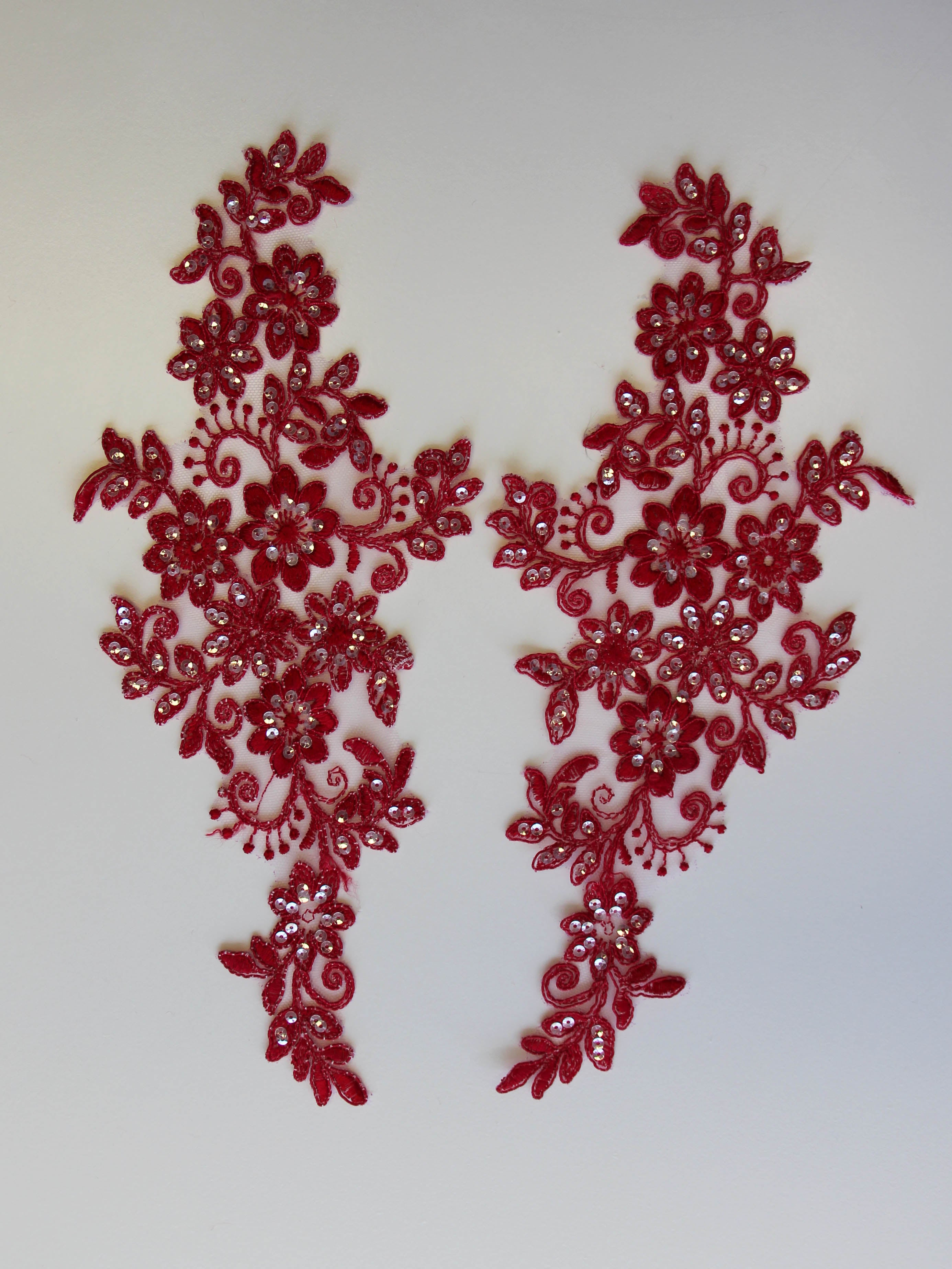 Red Sequinned Lace Appliques - Erica.