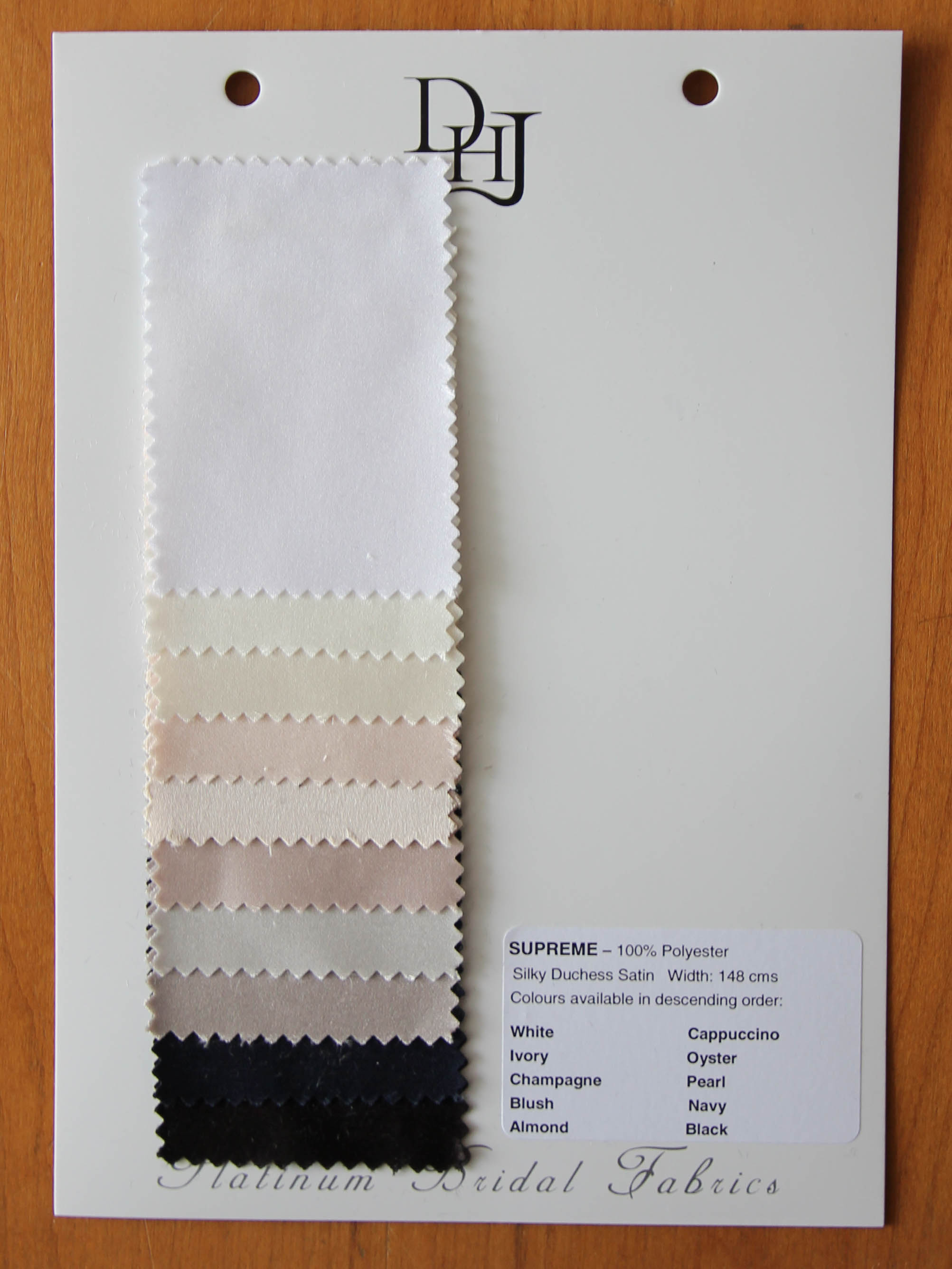 Sample Card of Polyester Satin – Supreme