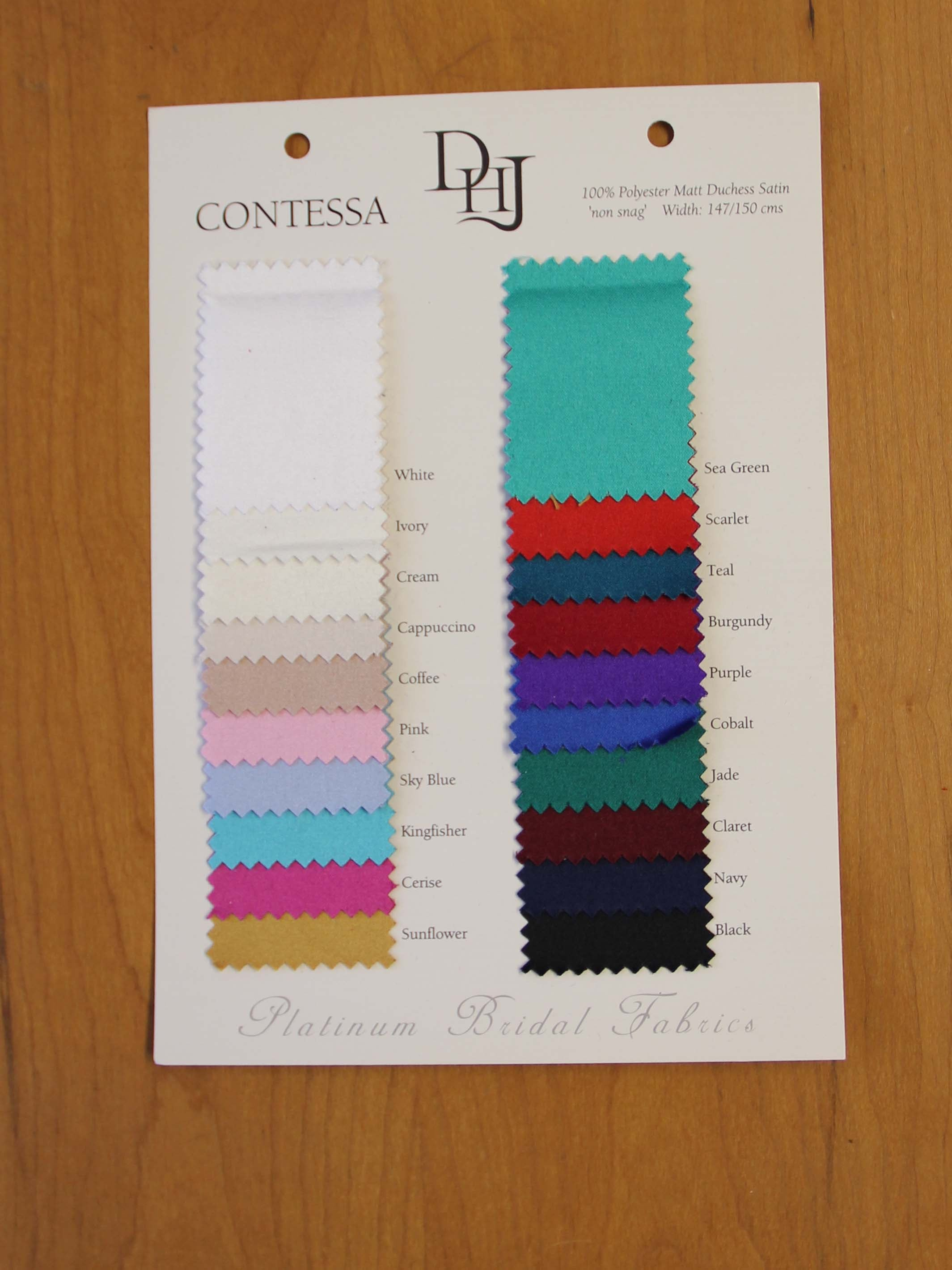 Sample Card of Polyester Satin – Contessa