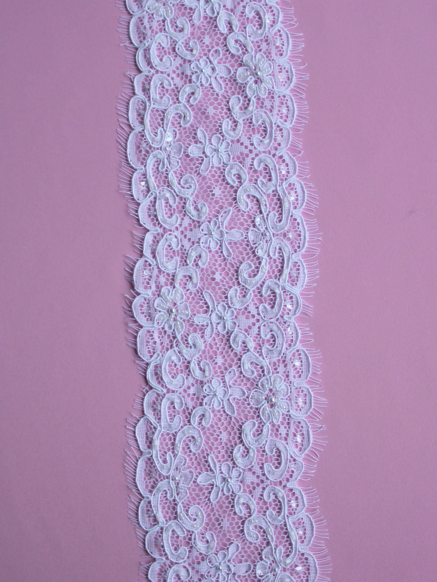White Corded and Beaded Lace Trim - Heidi