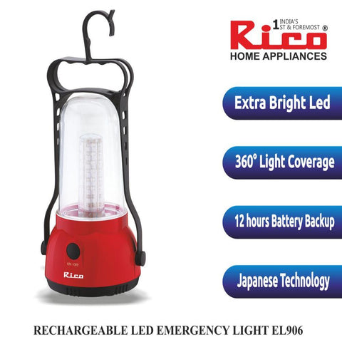 Rico EL906 Rechargeable Emergency Light (Red)
