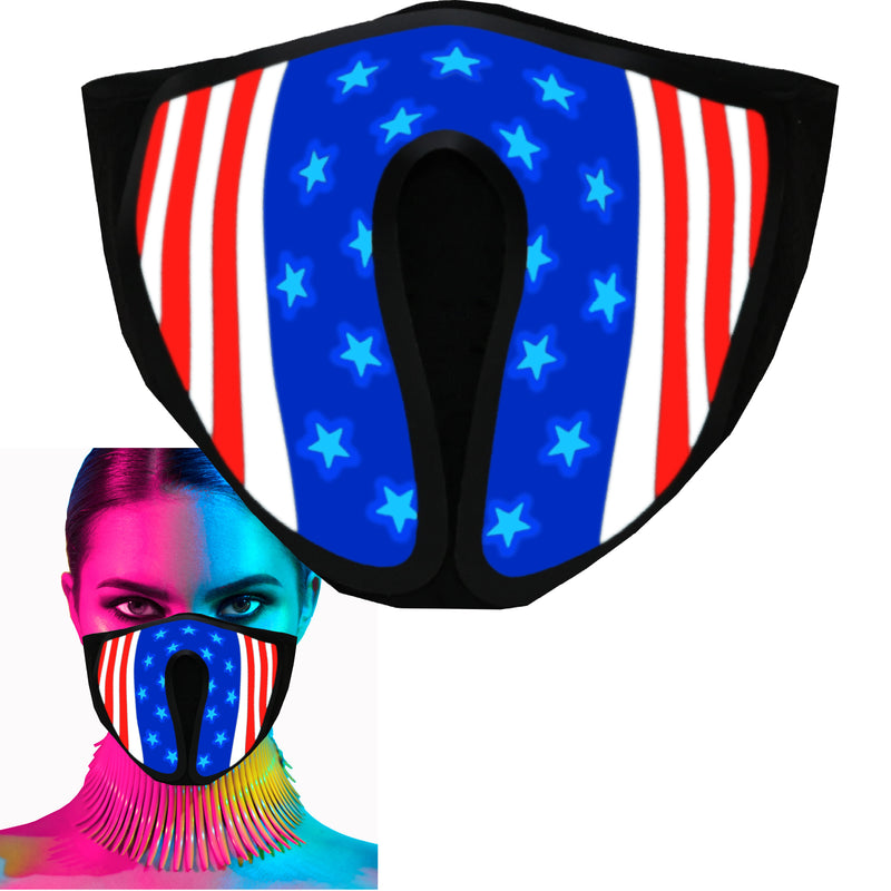 CYB - USA Flag - LED Rave Mask Light Up Glow Face Mask Sound Activated for Music Festival Party EDM Halloween