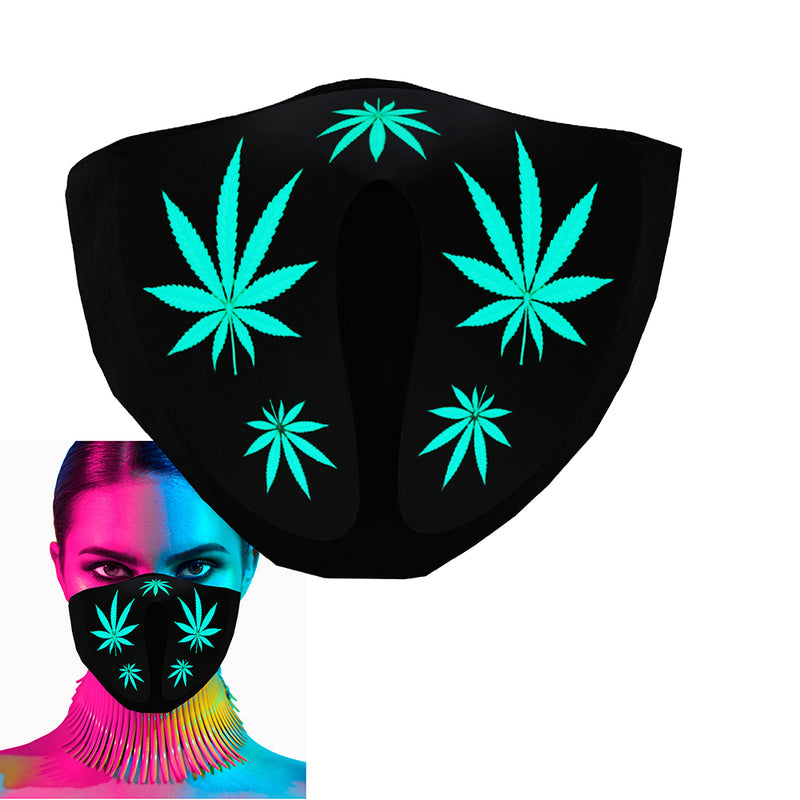 CYB - Weed - LED Rave Mask Light Up Glow Face Mask Sound Activated for Music Festival Party EDM Halloween