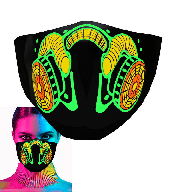 CYB - Gas Mask - LED Rave Mask Light Up Glow Face Mask Sound Activated for Music Festival Party EDM Halloween