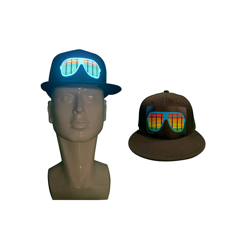CYB - Glasses - LED Hat Rave Light Up Sound Activated Baseball Cap Flashing DJ Snapback for Men and Women