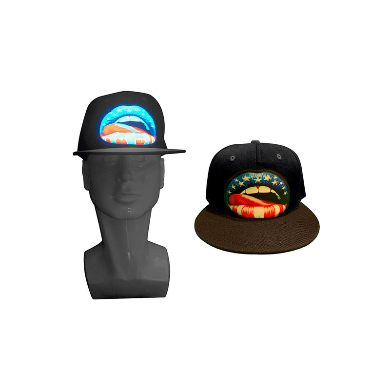 CYB - Lips - LED Hat Rave Light Up Sound Activated Baseball Cap Flashing DJ Snapback for Men and Women