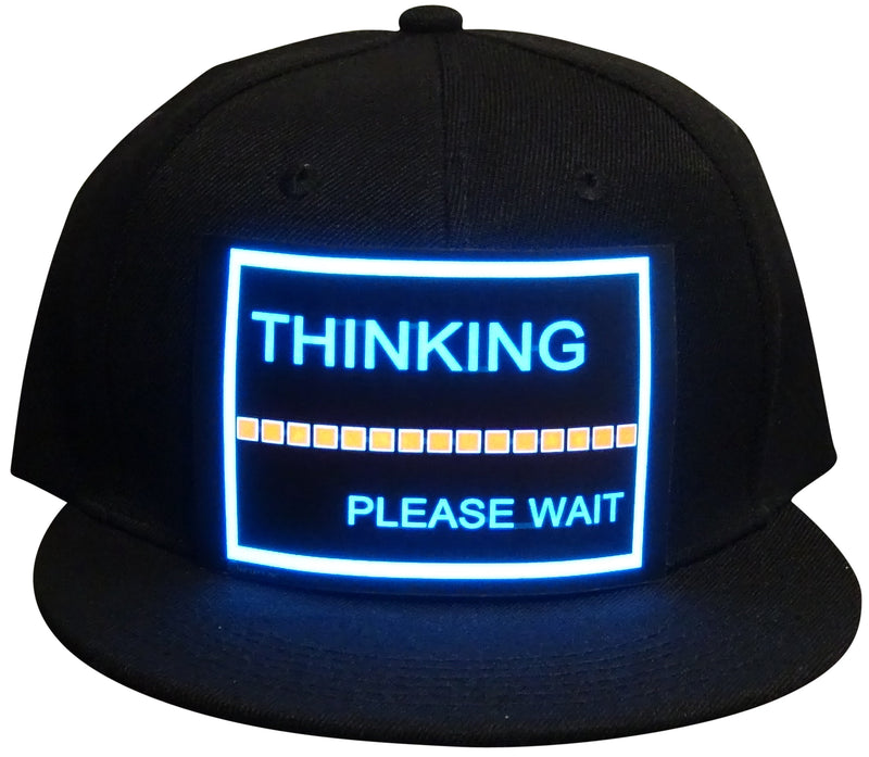CYB - Thinking - LED Hat Rave Light Up Sound Activated Baseball Cap Flashing DJ Snapback for Men and Women