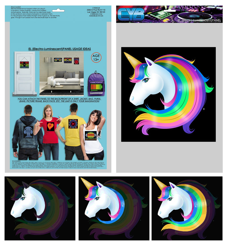 CYB - Unicorn - Wireless Sound Activated LED Panel w/Sensor Module for T-Shirts Backpacks, for Raves Parties