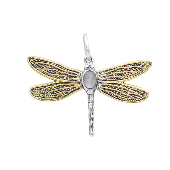 Waxing Poetic Transformative Dragonfly Moonstone Pendant