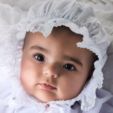 Load image into Gallery viewer, Girls Infant White Smocked Bonnet
