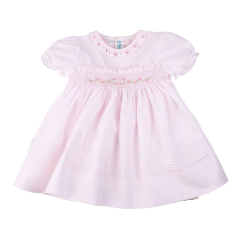 Pastel Pink Rose Garden Smocked Dress