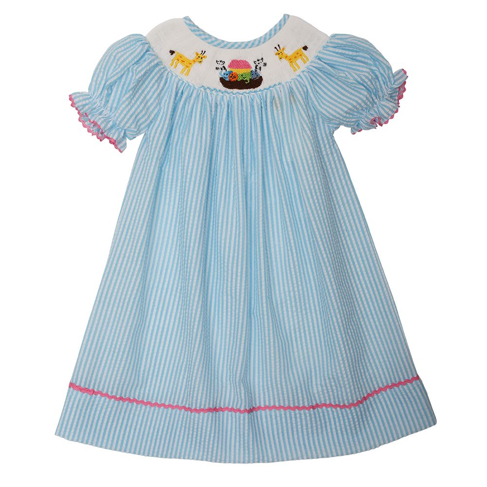 Smocked Noah's Ark Aqua Check Float Dress