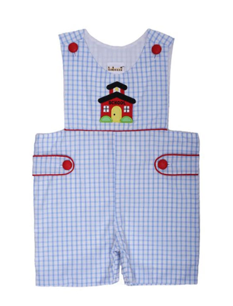 Schoolhouse Applique Boys Blue Check Shortall