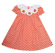 Load image into Gallery viewer, Embroidered Pumpkins Orange Zig-Zag Print Dress
