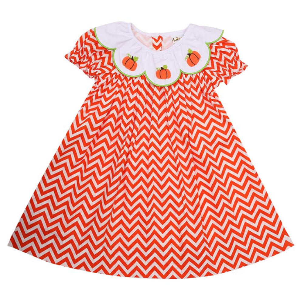 Embroidered Pumpkins Orange Zig-Zag Print Dress