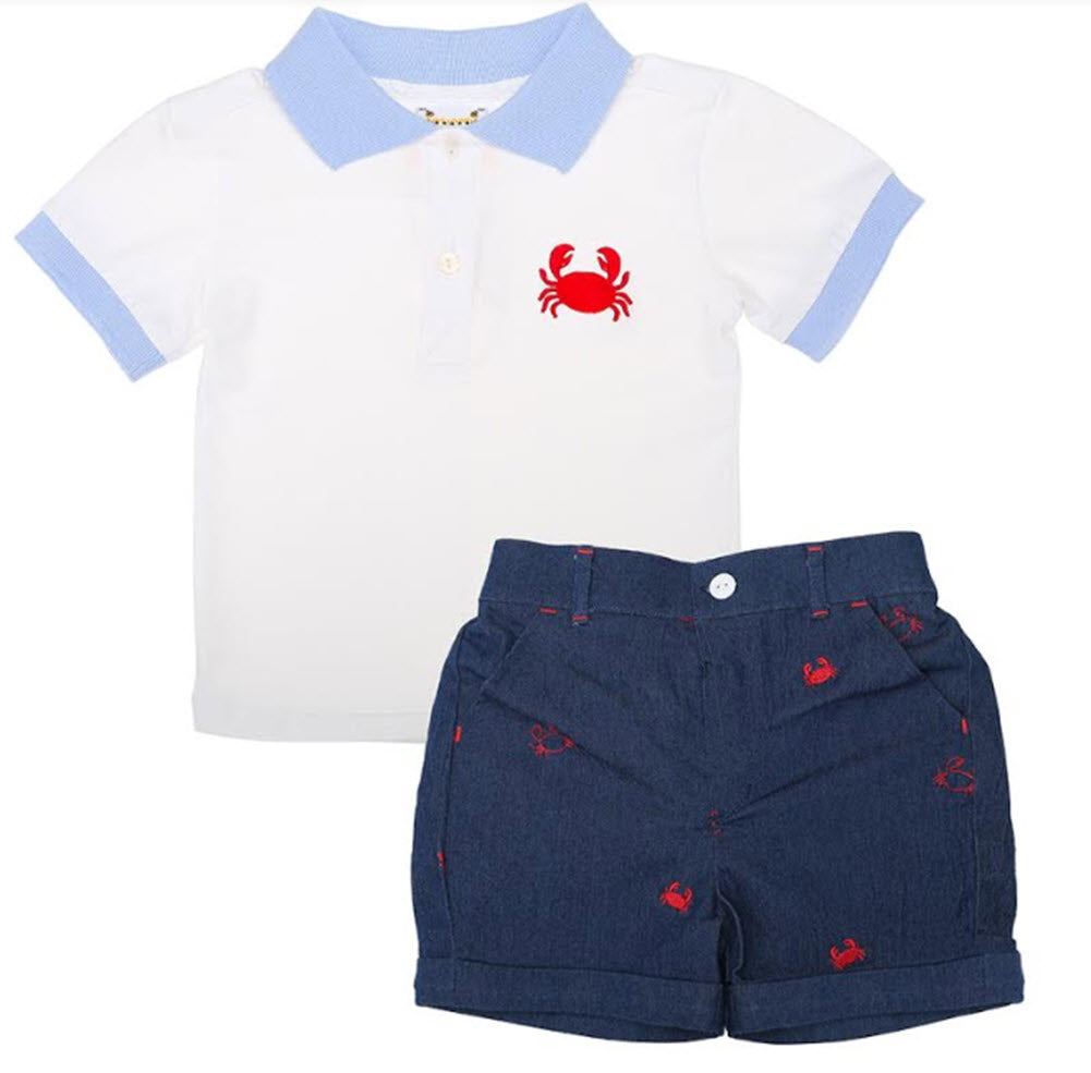 Embroidered Crab Boys Short Set
