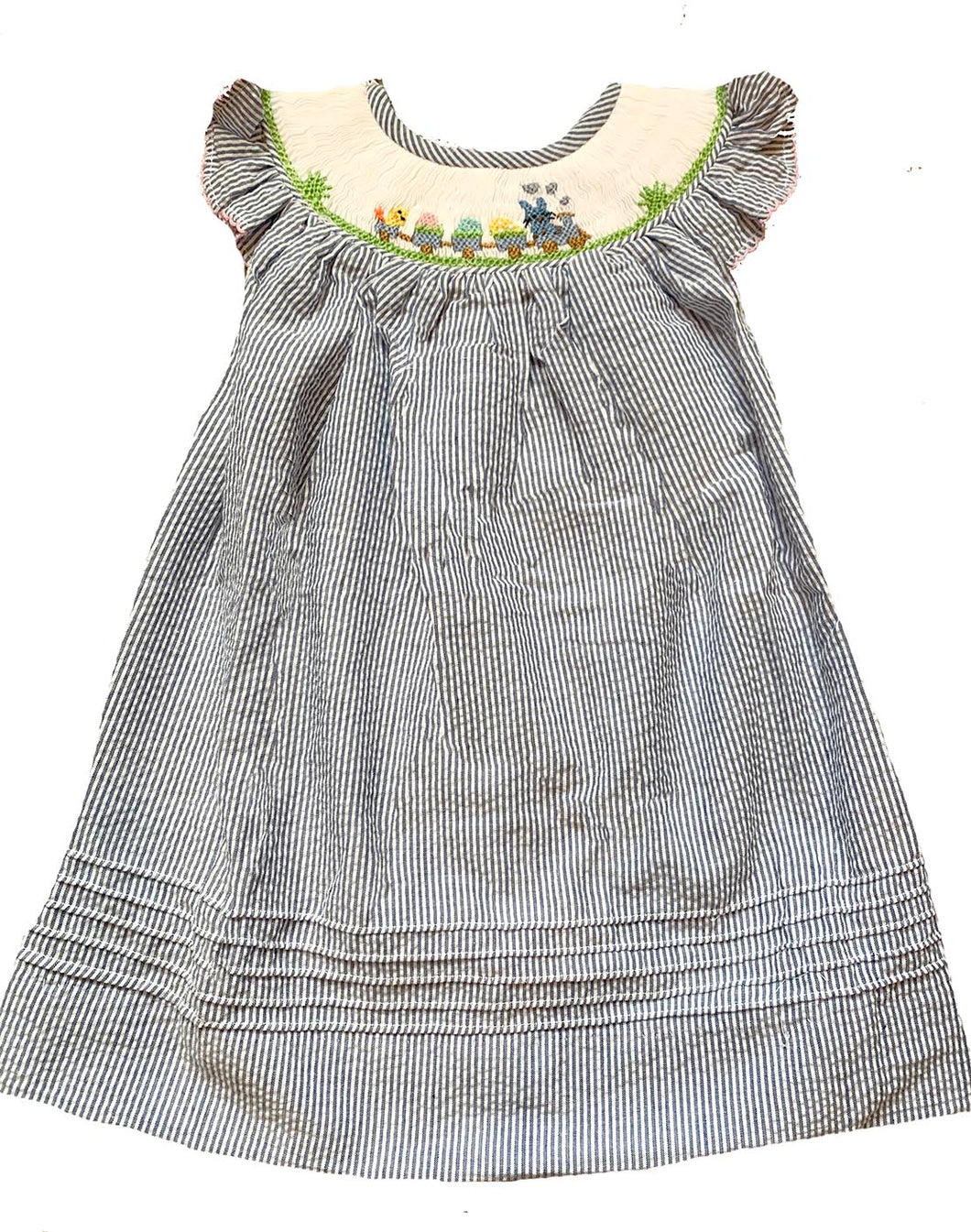 Easter Train Blue Striped Float Dress