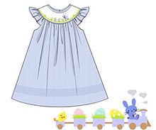 Load image into Gallery viewer, Easter Train Blue Striped Float Dress