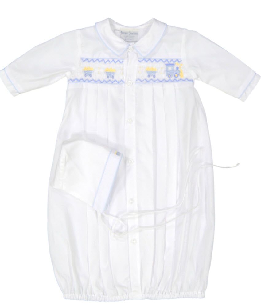 Boys Feltman Brothers White/Blue Smocked Train Gown & Cap Newborn