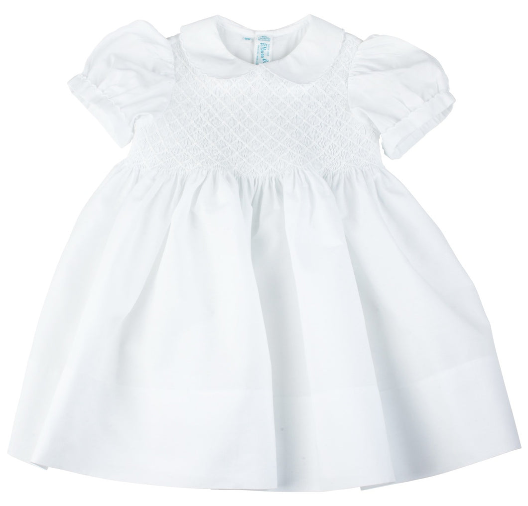 White Smocked Yoke Short Sleeve Dress with Sash