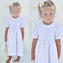 Load image into Gallery viewer, White Smocked Yoke Short Sleeve Dress with Sash