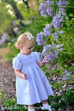 Load image into Gallery viewer, Girls Blue Smocked Yoke Dress with Lace Trim